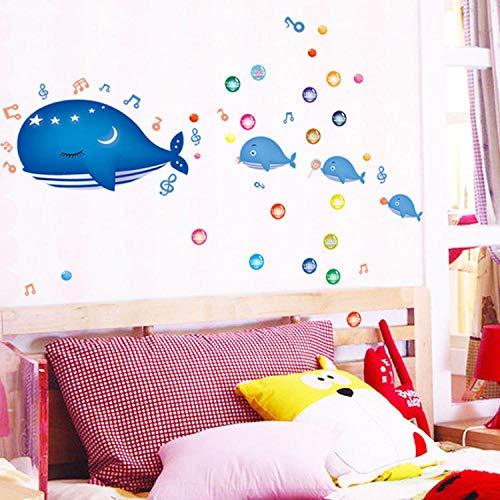Fotobehang, zelfklevend, voor de kinderkamer, karikatuur, marineblauw, whale blaas, vinyl, voor het verwijderen en plakken van de muurtattoos, afneembaar, voor kinderen