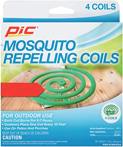 PIC Mosquito Repelling Coils, 4 Count Box, 5 Pack - Mosquito Repellent for Outdoor Spaces (20 Coils Total)
