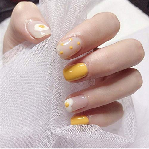 Sakytal Cute Medium Square False Nail Glossy Press on Nails Tips Yellow Egg Fake Nail Full Cover Acrylic Nails Art Decoration Artificial Accessories Nails for Women and Girls(24Pcs)
