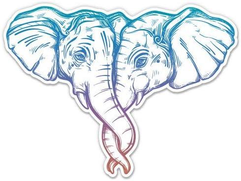Elephant Couple Beautiful Color 3 Vinyl Sticker For Car Laptop I Pad Phone Helmet Hard Hat Waterproof product image