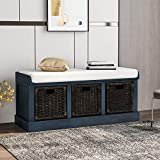 Merax Storage Bench Entryway Storage Bench with 3 Removable Basket, Shoe Bench Fully Assemble Storage Bench with Removable Cushion for Entryway, Hallway,Living Room(Antique Navy)