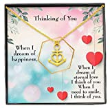 Express Your Love Gifts Thinking of You Anchor Pendant Stainless Steel Necklace Message Card