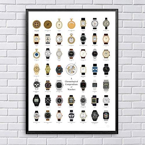 Kldfig chronograaf horloges chart kunst canvas poster prints huis en woonkamer wanddecoratie schilderij - 60 x 90 cm zonder lijst