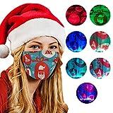 Bumplebee Erwachsene Mund und Nasenschutz Weihnachten LED Licht Druck Bandana Maske Multifunktionstuch Mehrweg Atmungsaktiv Halstuch Mundschutz mit Motiv Damen Herren