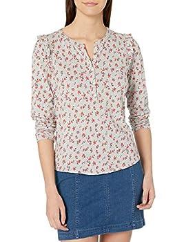 Lucky Brand Women s Long Sleeve Floral Print Ruffle Henley Shirt Red Multi Small