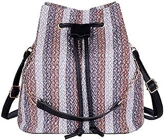 TOOGOO New Drawstring Women'S Straw Bucket Bag Summer Woven Shoulder Bags Shopping Purse Beach Handbag Straw Handbags Travel Bag Black