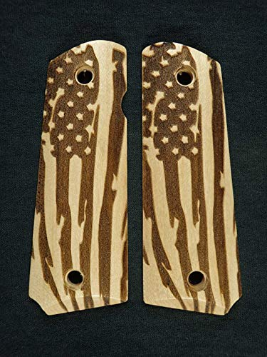 Maple American Flag Full Size 1911 Grips Checkered Engraved Textured