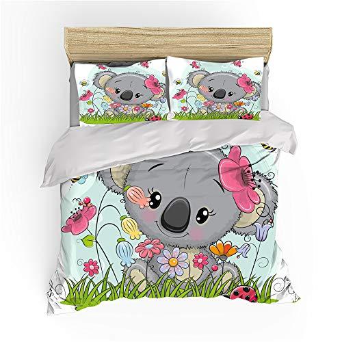 Koala Bear - Juego de ropa de cama infantil (3 piezas, 140 x 210 cm + 50 x 75 cm x 2)
