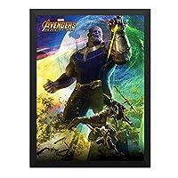 ハンギングペインティング - AVENGERS アベンジャーズ Thanosのポスター 黒フォトフレーム、ファッション絵画、壁飾り、家族壁画装飾 サイズ:33x24cm(額縁を送る)