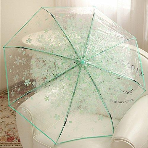 LYYUMBRELLAS Parapluie Romantique Fleurs de Cerisier Trois Parapluie Pliant Parapluie Transparent Printemps et été Mode Version coréenne Creative Princess Umbrella Femelle (Couleur : #3)
