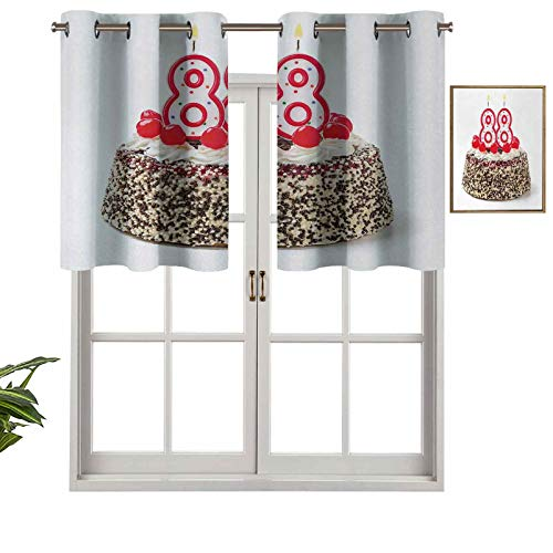Hiiiman Premium Window Grommet Short Curtain Valance Panels Happy Old Years Greeting Cake with Cherries Candle Yummy Image Artwork Print, Set of 1, 54'x18' for Bathroom & Kitchen