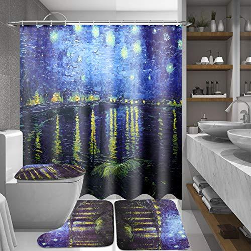 %20 OFF! CoCocina 180x180cm Rhone River Night Bathroom Shower Curtains Lid Toilet Cover Mat Rug Set ...