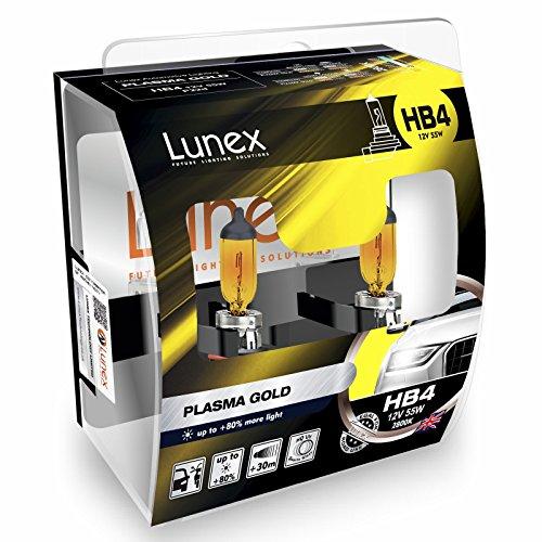 LUNEX HB4 9006 PLASMA GOLD Scheinwerfer Halogenbirnen Lampen Gelb 12V 55W P22d 2800K duobox (2 Stücke)