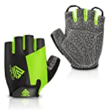HTZPLOO Bike Gloves Cycling Gloves Mountain Bike Gloves for Men with Anti-Slip Shock-Absorbing Pad,Light Weight,Nice Fit,Half Finger Biking Gloves (Green,Large)