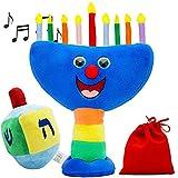 Hanukkah Plush Menorah and Dreidel - Musical Menorah Plays 2 Classic Hanukkah Melodies and Plush Children's Multicolor Dreidel (Plush Dreidel & Menorah Set)