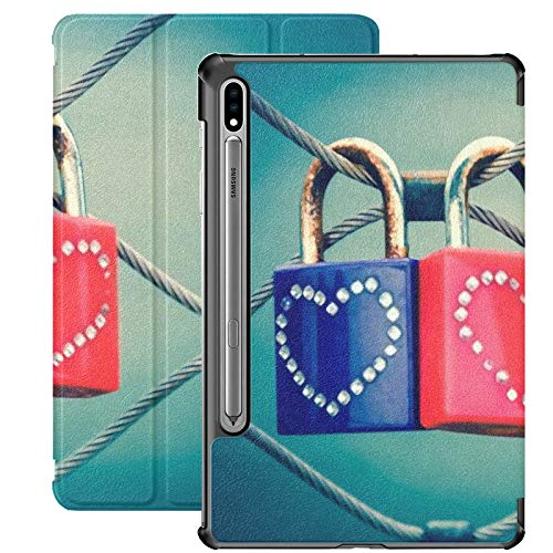 Funda para Galaxy Tab S7 Funda Delgada y Liviana con Soporte para Tableta Samsung Galaxy Tab S7 de 11 Pulgadas Sm-t870 Sm-t875 Sm-t878 2020 Release, Two Grungy Love Candados Decoración de corazón