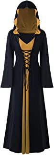 LODDD Women's Plus Size Halloween Hooded Lace Up Patchwork Long Sleeve Long Maxi Dress
