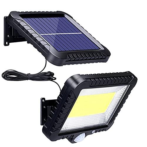 Lámpara solar para exterior con detector de movimiento, 100 ledes, foco exterior de 120°, superbrillante, para exteriores, IP65, lámpara solar de pared con cable de 3 metros, lámpara solar LED