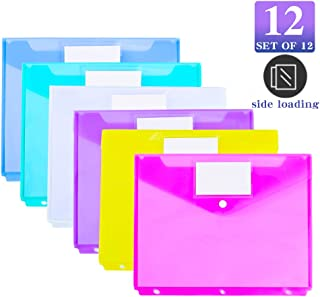12 Pack Poly Binder Pocket, Side Loading,Letter Size, Pocket Folders Poly Envelopes Clear Document Folders for 3 Ring Binder with Label Pocket & Snap Button for School Home Office