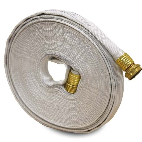 Garden Layflat Hose 5/8' x 50' Forestry Hose - (Garden Hose Couplings) - Service Pressure - 300 PSI - Made in the USA - White