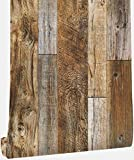 Hopeak Faux Wood Wallpaper, Peel and Stick Self-Adhesive Vinyl Decorative Wallpaper Removable 17.7 x 118 Inches,Brown
