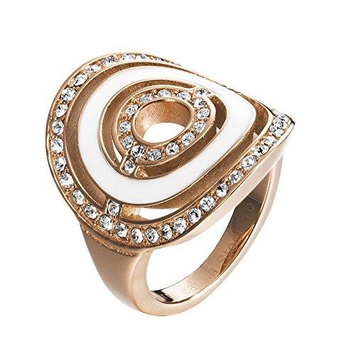 Pierre Cardin Damen-Ring Saturne Edelstahl Zirkonia weiß Brillantschliff Gr. 57 (18.1) - PCRG10025C180