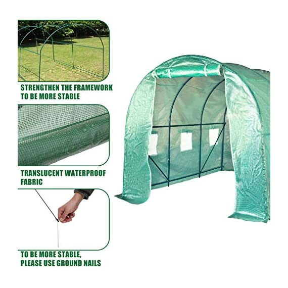 FDW L10'xW7'xH7' Greenhouse for Outdoors Greenhouse Plastic Mini Greenhouse Kit Indoor Portable Greenhouse Plant Shelves… 6 ♠【LARGE TUNNEL GREENHOUSE】The greenhouse use PE fabric with 1 rolling-up door and 8 vents for entry greenhouse. Tunnel greenhouse design offers growing space and ventilation for large size plants. ♠【PROTECT THE PLANTS】Outdoor greenhouse will surely extend your plants growing season no matter where you live, greenhouse can be set up easily. ♠【EASY TO ASSEMBE】The greenhouse comes with all hardware & necessary tools. Follow the portable greenhouse instruction, you'll found easy to set up, and estimated assembly with 2 people.