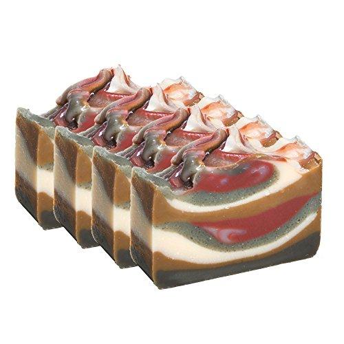 Barre de savon à la Boue Brésilienne, la lavande et le fenouil (4 Bar Set)- Savon à l'argile Bio fabriqué à la main. Savon naturel corporel hydratant pour la peau et le visage. Avec beurre de karité, Huile de coco, Glycérine naturelle