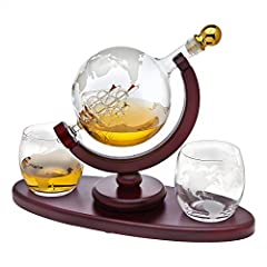 Hand Blown elegant Whiskey Decanter dispenser featuring an etched globe design and antique ship in the bottle will undoubtedly enhance your drinking experience while making a bold impression. PATENT PENDING set includes whisky decanter with 2 matchin...