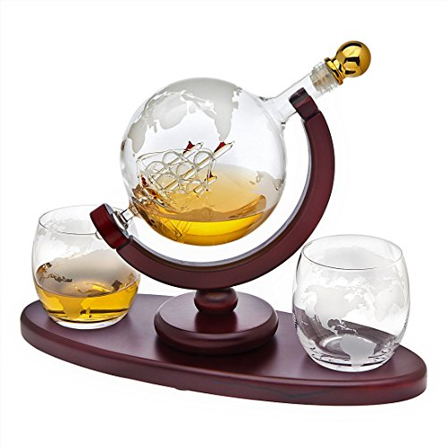 Royal Whiskey Decanter and Etched Glasses