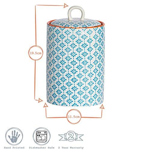 Nicola Spring 3pc Hand-Printed Tea Coffee Sugar 1L Canister Set - Blue