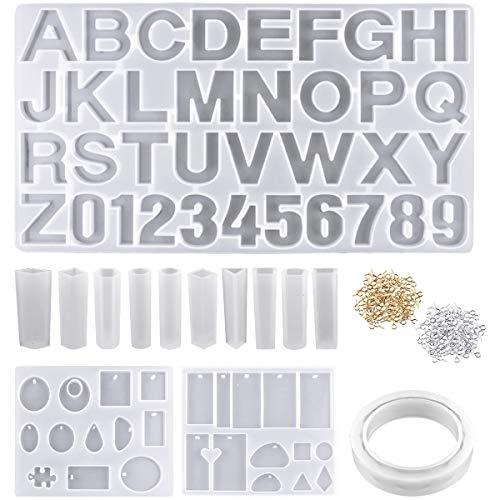 NATUCE 272PCS Alfabeto Números Molde Silicona Resina para Hacer Joyerias, Pulsera Molde, Moldes de Resina para Collar Pendiente Fabricación de Colgante Diamante Pulsera Creativo Bricolaje