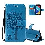 Aeeque Portable Bleu Etui PU Cuir pour Samsung Galaxy A5 2016, Élégant [Chat et Arbre] Motif à Clapet Portefeuille Housse...