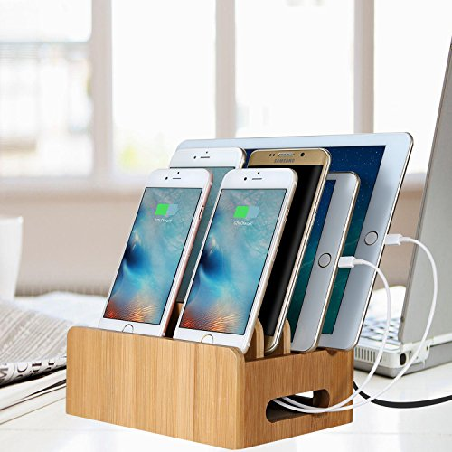 USB Ladestation, HomeXin Bambus Organizer USB Ladedock Desktop Ständer Multi Geräte Organiser Ladestations Halter mit Einfache Kabelaufbewahrung und Magnetische Funktion, USB Ladegerät dachtes Design Schnelle Direkt Aufladen für Smartphorne Tablets und Laptops