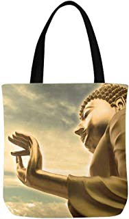 InterestPrint Golden Buddha Statue Cloudy Bangkok Thailand Sky Canvas Tote Bags Reusable Shopping Bags Grocery Bags Party Supply Bags for Women Men Kids