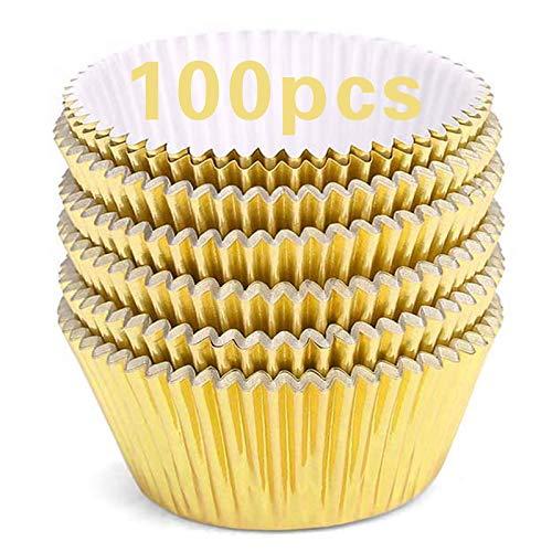 100Pcs Cupcake Cases Foil, Tazas para hornear Fundas de muffins a prueba de grasa estándar para el hogar, bodas, cumpleaños, oro rosa
