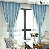 Didihou Embroidered Voile Mix Match Blackout Curtain Double Layer Darkening Thermal Insulated Window Treatment Grommet Drapes for Living Room Girls Bedroom, 1 Panel (52x84 Inch, Blue)
