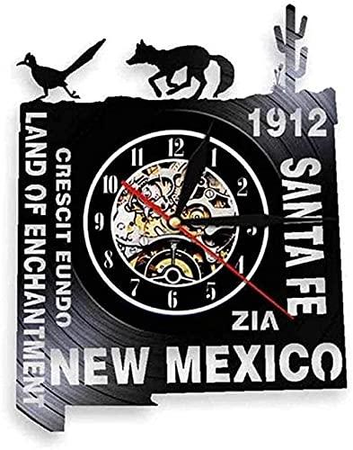 Reloj de Pared de Vinilo Reloj de Pared con Disco de Vinilo Ciudades Americanas Reloj de Pared del Oeste de México Decoración clásica Creativa para el hogar