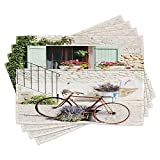 Ambesonne Bicycle Place Mats Set of 4, European French Mediterranean Rural Stone House with Bike Countryside Provence Day, Washable Fabric Placemats for Dining Room Kitchen Table Decor, Multicolor