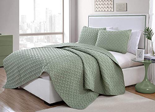 3pc Full/Queen Nina Embossed Quilt Set Green - VCNY Home