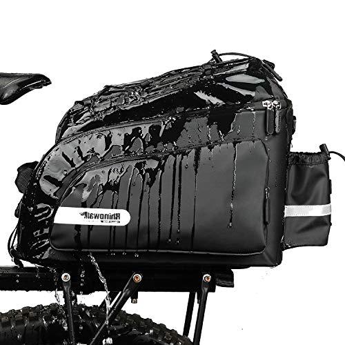 Rhinowalk Bike Bag Bike Trunk Bag Bike Pannier Bag 17L,(for Bicycle Cargo Rack Saddle Bag Shoulder Bag Laptop Pannier Rack Bicycle Bag Professional Cycling Accessories)-Black