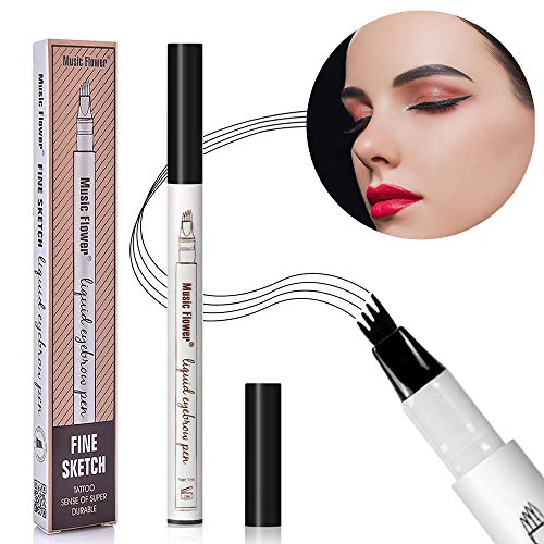 Augenbrauenstift Wasserfest, Eyebrow Pencil, Tattoo Eyebrow Pen, Augenbrauenstift Bürste, Eyebrow Definer, Augenbrauenstift Definieren Sie einen hochnatürlichen Make-up (Z-schwarz)