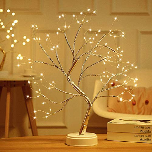NIVNI - Árbol con luces (108 luces LED, color rosa), lámpara de escritorio con forma de bonsái para bodas, dormitorios, decoración, etc.