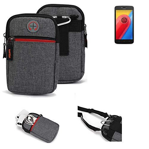 K-S-Trade Gürtel-Tasche Kompatibel Mit Lenovo Moto C LTE Handy-Tasche Holster Schutz-hülle Grau Zusatzfächer 1x