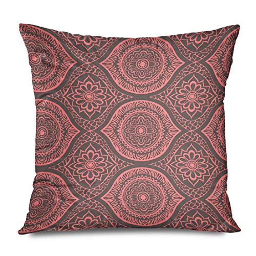 Throw Pillow Cover Decorative Square 18x18 Pink Ornamental Abstract Out Giraffe Pattern Cut Tiling Circles Shapes Coral Floral Neon Animal Zippered Pillowcase Home Decor Cushion Case 18' X 18'(IN)