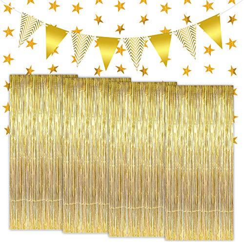 LYTIVAGEN 4 Stück Lametta Vorhänge Metallfolie Vorhang Glänzende Fransenvorhang Gold Fringe Shimmer Vorhang Metallic Tinsel Vorhänge mit Wimpelkette Glitzervorhang für Party Hochzeit Geburtstag, 1x2m