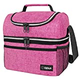 Insulated Dual Compartment Lunch Bag for Women, Ladies   Double Deck Reusable Lunch Box Cooler with Shoulder Strap, Leakproof Liner   Medium Lunch Pail for School, Work, Office (Heather Pink)
