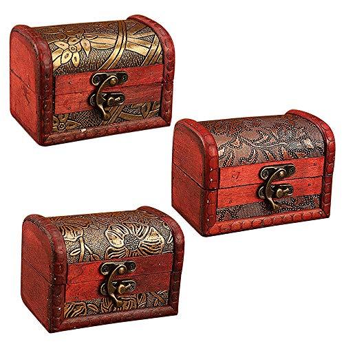 MOPOIN IWILCS Cofre pequeño de Madera, Juego de 3 - Mini de Cofre del Tesoro, Tesoro Pirata, para almacenar Collares, aretes, Anillos, etc(Patrón Aleatorio)