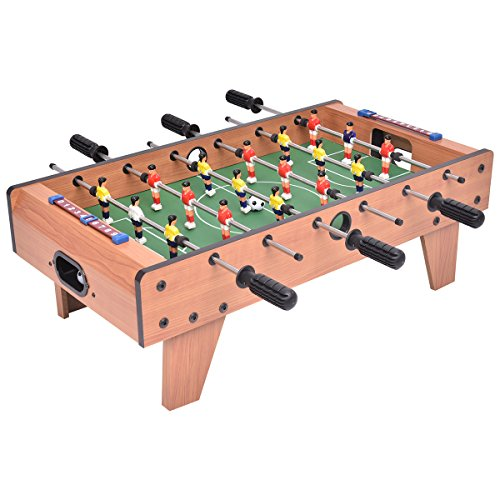 GYMAX Football Table Top Kids Family Indoor Soccer Foosball Play Game Toy Gift Set Wooden Frame, 70×37×24