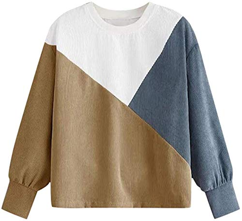Handsome Women Casual Round Neck Long Sleeve Sweatshirt Colorful Patchwork...